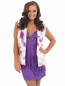 Adult Purple Hippie Costume with Waistcoat  - Back View - Thumbnail