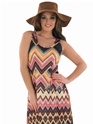Adult Ladies Hippie Zig Zag Dress Costume  - Back View - Thumbnail