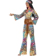 Adult Hippy Flower Power Costume  - Side View - Thumbnail
