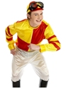 Adult Red & Yellow Jockey Costume  - Back View - Thumbnail