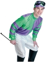Adult Green & Purple Jockey Costume  - Back View - Thumbnail