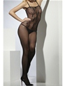 Adult Lace Patterned Crotchless Body Stocking  - Back View - Thumbnail