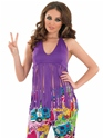 Adult Ladies Fringed Neon Purple Hippie Top Thumbnail