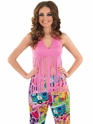 Adult Ladies Fringed Neon Pink Hippie Top Thumbnail