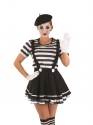 Adult Female Mime Artist Costume  - Back View - Thumbnail