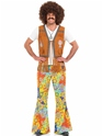Adult Mens 60's Hippie Fringed Waistcoat  - Back View - Thumbnail