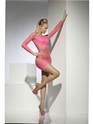 Adult Neon Pink Lattice Net Dress  - Back View - Thumbnail