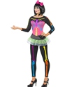 Adult Neon Skeleton Costume  - Back View - Thumbnail