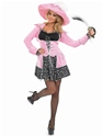 Adult Pink Glitzy Pirate Costume  - Back View - Thumbnail