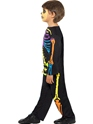 Child Punky Multi-Neon Skeleton Boy Costume  - Back View - Thumbnail