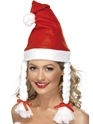 Santa Hat White Red Fleece