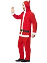 Adult Santa Onesie Costume  - Back View - Thumbnail