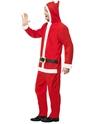 Adult Santa Onesie Costume  - Back View - Thumbnail