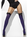 Striped Thigh High Stockings Black and Purple  - Side View - Thumbnail