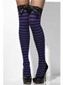 Striped Thigh High Stockings Black and Purple Thumbnail