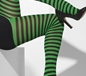 Black and Green Striped Tights (42722)