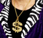 Dollar Sign Medallion Necklace Gold (26397)
