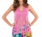 Adult Ladies Fringed Neon Pink Hippie Top (FS3337)