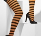 Striped Tights Orange And Black (42716)